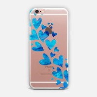 Blue Watercolor Hearts iPhone Case