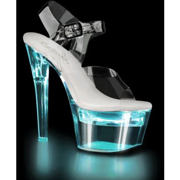 FLASHDANCE Illuminated Clear Ankle Strap Sandal 7 Inch Heels-Stripper Shoes