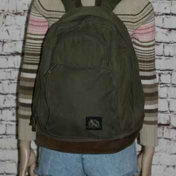 90s Backpack Army Green Leather Book bag Rucksack Canvas Day Pack Hipster Grunge Punk Cyber Goth Festival Mens Jansport 80s Brown Olive