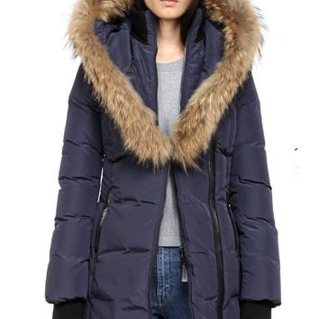 Mackage women kay-f4 long winter down coat with fur hood down jacket/dark blue