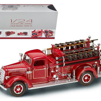 1938 Mack Type 75 Fire Engine Red with Accessories 1-24 Diecast Model Truck by Road Signature