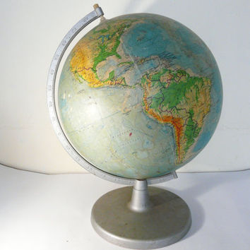 Vintage Globe BIG Vintage World Globe home decor bar decor office decor