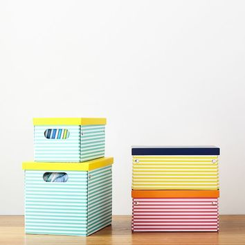 Striped Printed Storage Bins
