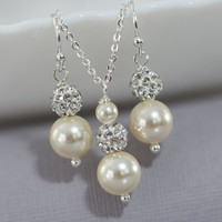 Bridesmaid Gift - CHOOSE YOUR COLORS - Swarovski Pearl Necklace and Earring Set, Bridesmaid Jewelry Set, Maid of Honor Gift