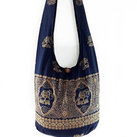 Women bag Cotton bag Elephant bag Hippie Hobo bag Boho bag Shoulder bag Sling bag Messenger bag Tote bag Crossbody bag Purse Navy Blue
