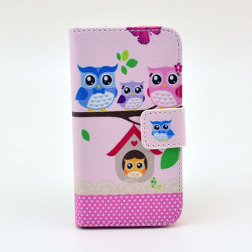 Owl Printed Leather Wallet creative case Cover