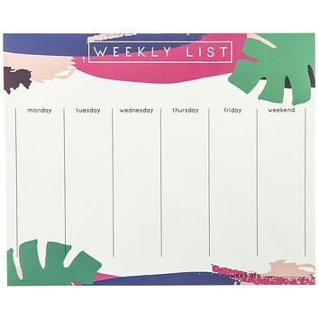 Palm Leaves Weekly List Planner Notepad
