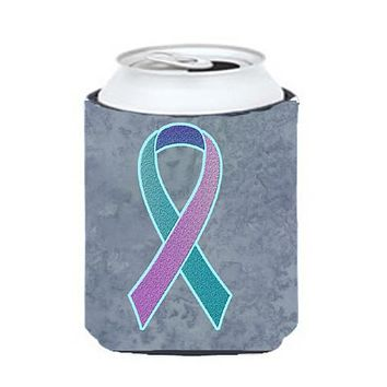 Teal, Pink and Blue Ribbon for Thyroid Cancer Awareness Can or Bottle Hugger AN1217CC