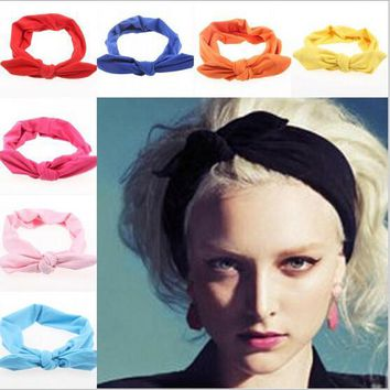 2015 korean boutique rabbit bunny ears top knotted twist headbands for women adult infant girls baby head wraps hair band turban