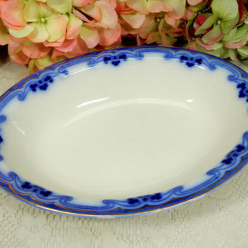 Beautiful Grindley Dark Flow Blue Serving Bowl ~ Idris ~ Clover ~ Gold