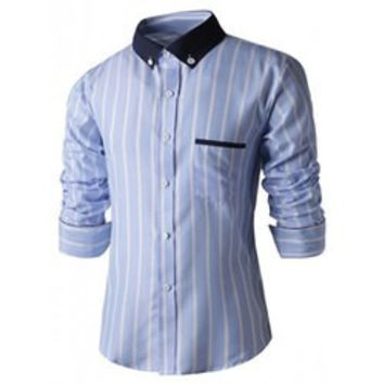 Turn-Down Collar Slimming Long Sleeve Vertical Stripe Button-Down Shirt For Men