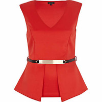 Red scuba belted peplum top