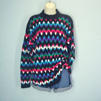 Vintage 80s Sweater / Slouchy Sweater / Chevron Jumper / Soft Sweater