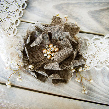 Rustic Chic burlap sash /  ivory wedding Hair Accessory  with  handmade burlap flower / alternative to  wreath, flower crown