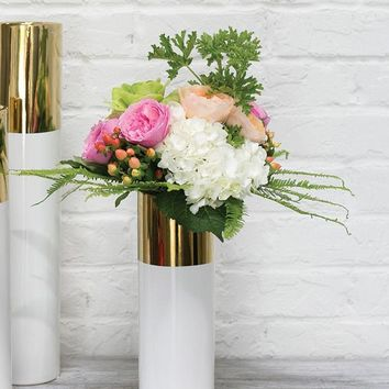"Klein Ceramic Cylinder Floral Vase in White & Gold - 12"" Tall x 4"" Wide"