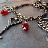Skeleton Key Necklace:  Heart Charm Necklace, Valentine Jewelry, Single Strand Necklace with Red Teardrops