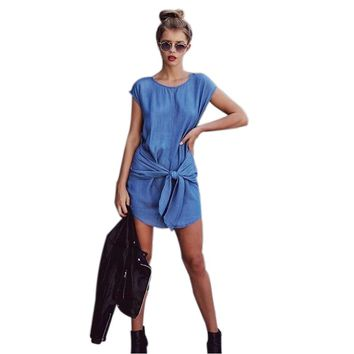 2018New Women Bandage Bodycon Jeans Dress Sleeveless Casual Blue Short Ladies Summer Beach Cocktail Party Denim Dresses Vestidos