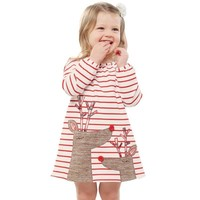 Sweet Christmas dress for girls princess dress 100% Cotton Striped Deer Christmas Long Sleeve Baby girl Clothes 1-5yrs