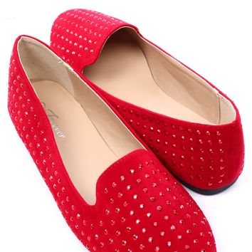 RED FAUX SUEDE STUDDED ROUND CLOSED TOE LOAFER FLATS