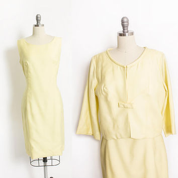 Vintage 1960s Dress - Light Yellow Sleeveless Shift + Jacket Set Mod Cocktail Party - Large