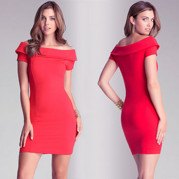 Red Off Shoulder Bodycon Mini Dress