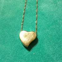 """14K Heart Necklace Italian Yellow Gold Slide Enhancer Stamped 2.2 Grams 19"""" Vintage Italy Bridal Gift Jewelry Solid Boho Modern Chain Charm"""