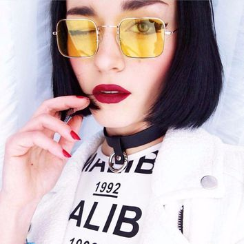 2017 small square frame vintage sunglasses Woemen retro brand design grey blue yellow red tinted men sunglasses small square fr
