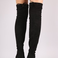 Stretched Suede Collar Tie Chunky Heeled Over-The-Knee Boots