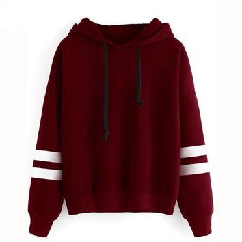 Shoulder Varsity Striped Hooded Sweatshirt Women Long Sleeve Pullovers Autumn Winter Sweatshirt