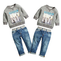 2pcs set!! Baby Kids Boys Clothes Cool  Long Sleeved O Neck Shirt Sweater + Jeans Denim Trousers Outfits