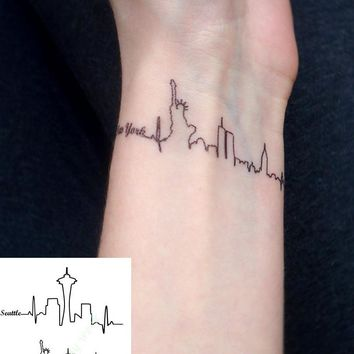 Waterproof Temporary Tattoo Sticker Seattle and New york city skyline letters tatto stickers flash tatoo fake tattoos for women