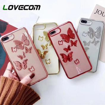 LOVECOM 3D Hollow Butterfly Electroplating Case For iPhone 6 6S 7 8 Plus X Luxury Transparent Soft TPU Phone Cases Cover