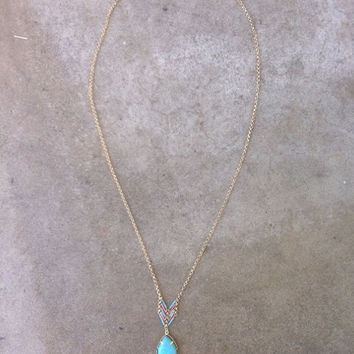 Turquoise Heishi Pear Necklace
