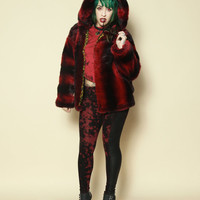 ZEF2DEATH Blood red super plush faux fur jacket with hood toxic green cheetah print fabric other colors available custom vegan fur jacket