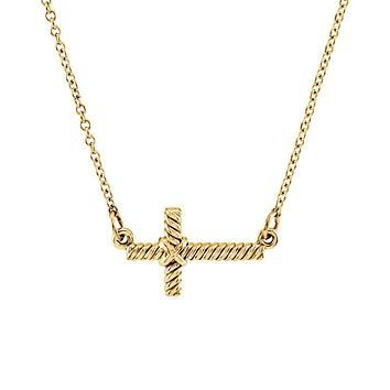 16mm Sideways Rope Cross Necklace in 14k Yellow Gold, 16.5 Inch