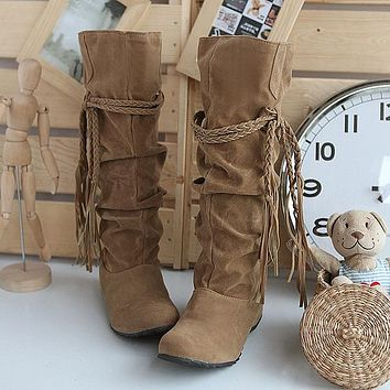 Womens Boots Winter 2016 Botas Mujer Plus Size EU 34-43 Flat Knee High Boots Tassle Fringe Bottines Femmes Zapatos WB002