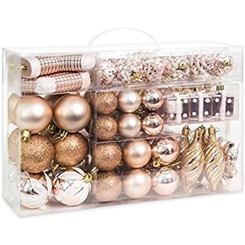 Best Choice Products Set of 72 Handcrafted Assorted Decorative Shatterproof Christmas Ornaments (Rose Gold)