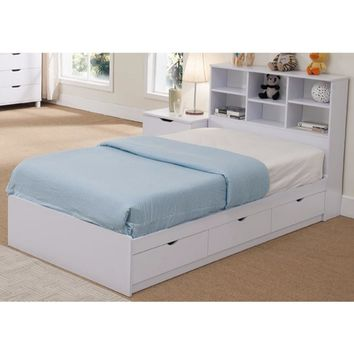 Sophisticated Snow White Finish Twin Size Chest Bed With 3 Drawers