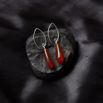 Elegant earrings Carnelian teardrops, marquis shaped Sterling silver earwires. Made in Scotland by Lys and Rose