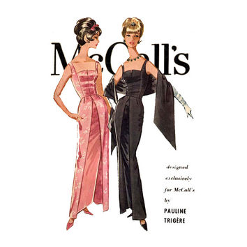 1960s Pauline Trigere Evening Dress Pattern McCalls 6033 Bust 36 Formal Sheath Wiggle Dresses & Stole UNCUT Womens Vintage Sewing Patterns