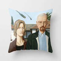 The Heisenbergs Throw Pillow by Brian DeYoung Illustration | Society6