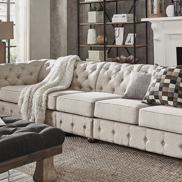 Knightsbridge Beige Linen Oversize Extra Long Modular Sectional Sofa Extension by SIGNAL HILLS | Overstock.com Shopping - The Best Deals on Sectional Sofas