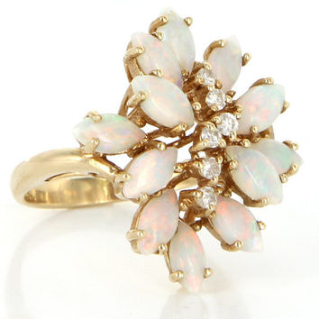 Vintage 14 Karat Yellow Gold Opal Diamond Cluster Cocktail Ring Estate Jewelry