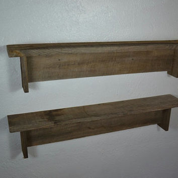 "Pair of barn wood wall shelves 26"" wide"