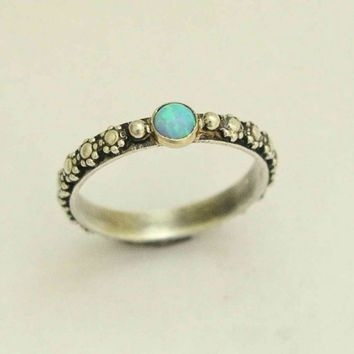 Sterling silver ring and yellow gold, Thin floral gemstone ring set opal stone - Your desire