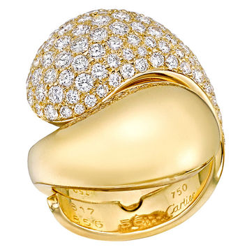 Cartier Diamond Pave Gold Bypass Ring