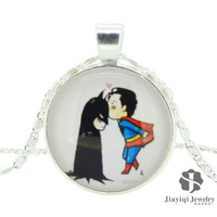 Glass alloy Superman and Batman kiss round time gem necklace = 1927950916