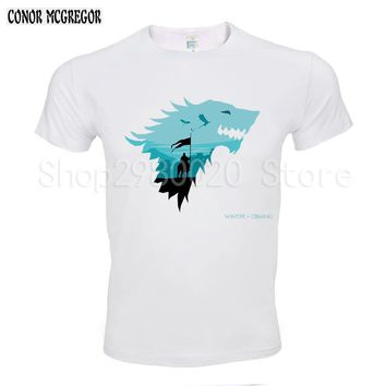 Game Of Thrones Men T Shirts Christmas ice wolf Funny Jon Snow Design Digital Printed Combed Top Quality Shirt