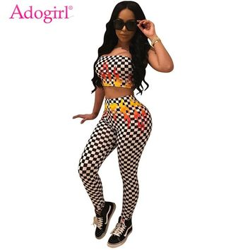 Adogirl Black White Plaid Fire Print Women Two Piece Sets 2018 New Sexy Strapless Crop Top Skinny Pants Fashion Club Suits