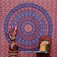 Floral Indian Camel Parrot Tapestry Indian Bedspread
